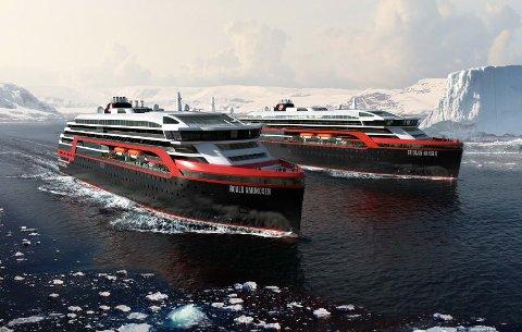 TIL NORSKEKYSTEN: MS Roald Amundsen og MS Fridtjof Nansen blir verdens første hybriddrevne ekspedisjonscruiseskip. Sommeren 2019 skal begge seile langs norskekysten. Foto: HURTIGRUTEN