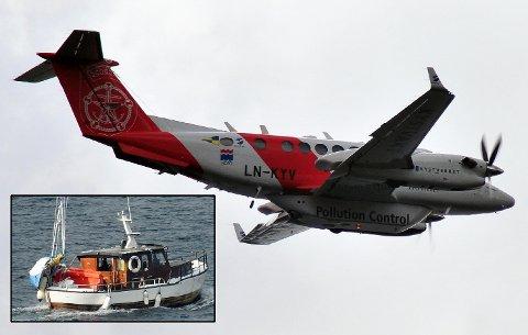 FLYSØK: Kystverkets overvåkningsfly ble tirsdag satt inn i søket etter den savnede båten og mannen (innfelt).