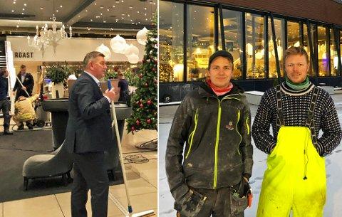 ALLE LØP TIL: Marius Rognstad og kollegaen Kim André Johansen i Allsidig Snekkertjeneste ble dypt imponert da ansatte fra alle deler av hotellet løp til for å tørke opp etter lekkasjen.