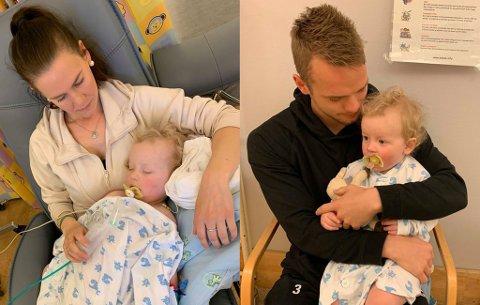 LETTET: Tina Gjøvik (t.v.) og Kent-Are Antonsen med sønnen Julian etter at 1-åringen hadde gjennomgått en vellykket hjerteoperasjon på Rikshospitalet i Oslo.