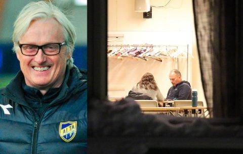 BRUDD: Bård Flovik (t.v.) bekrefter at han ikke lenger er aktuell som Fløya-trener, og sier at klubben har brukt «tillit» som begrunnelsen for å avslutte samtalene. Til høyre venter Fløya-ledelsen på spillerne i forkant av et møte i Fløyahallen søndag kveld. To A-spillere stilte til møtet.