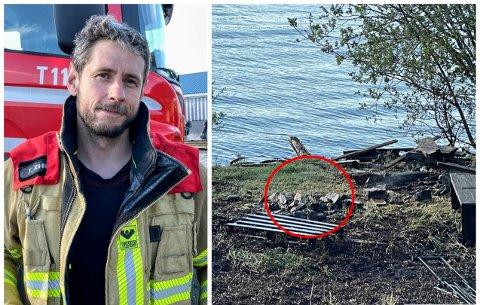 BRANN: Truls A. Johnsen forteller at det er nærliggende å tro at brannen startet på grunn av uforsiktig bruk av bålplassen som ligger ved brannstedet.
