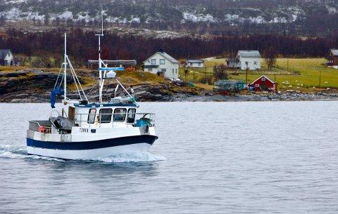 Fiskarbonden Jarle Olsen passerer hjemgården ved Gaibeneset. Olsen livnærer seg på sauedrift og fiske. Han er helt avhengig av fiskefeltet øst for øya. Foto: Ola Solvang