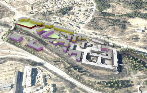 Planer: Slik vil det ta seg ut ifølge skissen fra Kontur. Bygninger med gulaktig             farge er boenheter. Fiolett er brukt på nye bygninger. De som er gråfarget er eksisterende. Den i rødt er parkeringshus. «Nye» glidelåsen, i de siste årene brukt til krokproduksjon (nedlagt), skal rives.