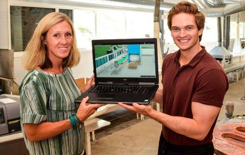 3D-TVILLING: Holmen Crisp på Kapp har fått en digital tvilling. Verktøyet kan forandre hverdagen både til fabrikkeier Camilla Rostad og utvikler Torbjørn Grimstad og hans Moicon AS.