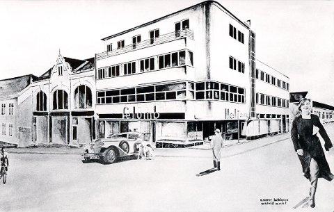 FUNKISSTIL: Karakteristiske representanter for funkisstilen i Larvik. Forretningsgården, Torvet 6, slik arkitekten S. Narve Ludvigsen presenterte den på papiret i 1934.