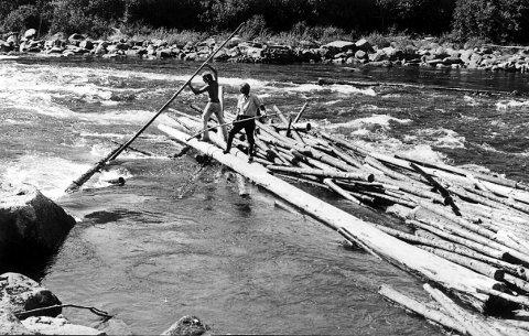 Fløtning i Lågen på 1960-tallet. Bildet er fra Åbyfoss