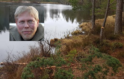MÅ LÆRES OPP: Hauk Joar Rosvald synes det er fint at enda flere enn vanlig tar i bruk naturen, men påpeker at det er viktig at man læres opp i hvordan vi skal ta vare på den, ikke ødelegge som her ved Bakkanetjønn.
