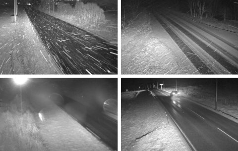 VINTERFØRE: Det snør i høyereliggende strøk i Hedmark. Det er med andre ord på tide å legge om til vinterdekk. Bildene er fra fylkesveg 30 ved Osmoen, riksveg 3 Kvikneskogen, fylkesveg 29, Gravbekklia og E6 ved Fokkstugu på Dovrefjell.