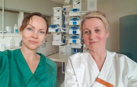 TETT PÅ INTENSIVPASIENTENE: Anestesilege Cecilie Ruud Kviseler (43, t.v.) og intensivsykepleier Rita Fjærli (47) jobber begge på intensivavdelingen ved Sykehuset Østfold Kalnes. I skrivende stund er seks koronapasienter innlagt på et eget isolat på intensivavdelingen.