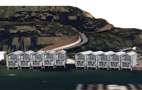 Sjøhus: Slik kan de bli, de ti sjøhusene som Nordskot Utvikling AS planlegger å bygge i havneområdet på stedet. De vil alle få et moderne preg og kunne benyttes om helårsboliger. Målet er å komme i gang med byggingen i 2020.