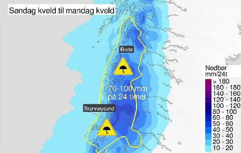 Meteorologene har sendt ut gult farevarsel for Helgeland fra søndag kveld til mandag kveld.