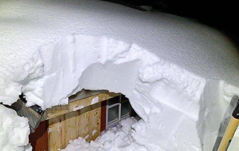 Hytte snøfall Nord-Røssvatnet snømåking