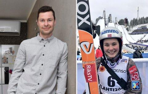MEKTIG IMPONERT: Anders Jacobsen er mektig imponert over det Silje Opseth har fått til. Nå gir den tidligere topputøveren råd til den distriktets nye hopp-talent.