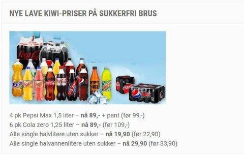 GAMLE PRISER: Prisene som Kiwi innførte i april.