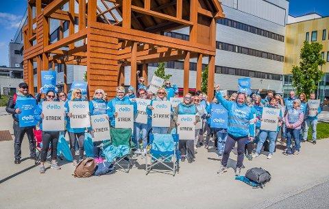 De streikende ved Sykehuset Østfold gikk blant annet til streik for rett til pensjon også for dem i stilling under 20 prosent, en rett de nå har vunnet i Rikslønnsnemnda.