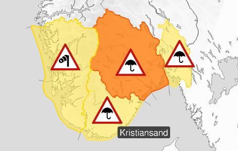 Nedbørens farenivå er satt til gult for Østfold.