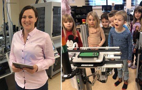 KJEKT BESØK: Linda Nordheim og Sitep inviterte alle barnehagane i Årdal til bedriftsbesøk i førre veke.