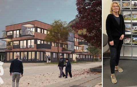HAR TRUA: I Årdal kommune ligg det berre 22 bustadar ute til sals. Det er svært lite, meiner Greta Steinheim, dagleg leiar i Garanti Eigedom i Årdal. Ho har difor stor tru på det nye bustadprosjektet i Rådhus 2 på Årdalstangen.