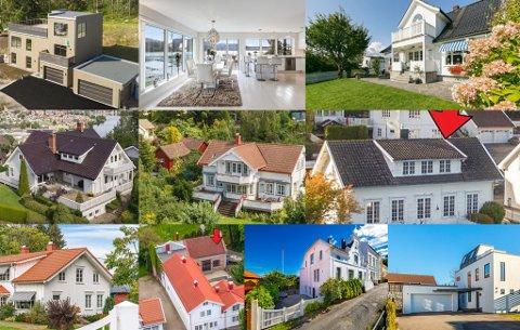 DYRT OG FLOTT: Du må betale for å sikre deg god standard og beliggenhet. De ti dyreste boligene i Telemark koster fra rundt sju millioner kroner og oppover. Bildemontasje fra annonser på Finn.