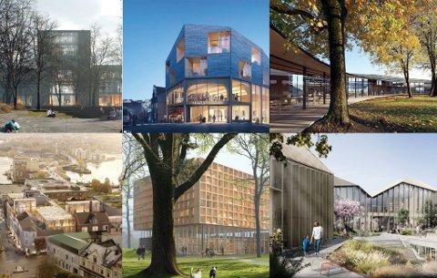 VELGE TO: Torsdag 16. januar skal juryen annonsere for bystyre hvilke to prosjekter de har valgt blant de seks arkitektforslagene, et på hver tomt. Deretter skal politikerne velge ett av disse to.