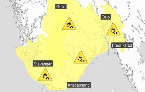 Lavtrykket er ventet inn over Norge tirsdag. Foto: Meteorologisk institutt