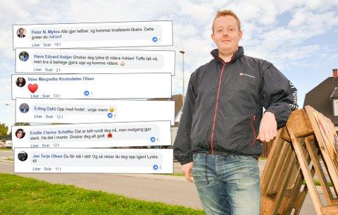 Adrian Næss Løvsjø beklager underslaget i en facebookpost. Det har utløst en rekke støttemeldinger, også fra profilerte politikere.
