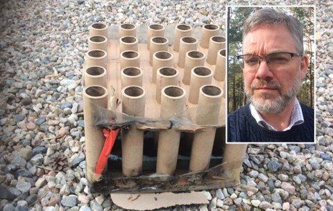 - FARLIG: Dette fyrverkeribatteriet sto rett på utsiden av eneboligen i Brevik. Flere i nabolaget er skremt etter hendelsen, forteller Sturle Stiansen til TA.