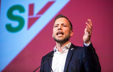 Partileder Audun Lysbakken taler til Landsmøtet i SV.