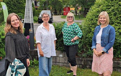 Statssekretær i Kunnskapsdepartementet Anja Johansen (fra venstre), Ragnhild Helseth, Lena Landsverk Sande og Venstre-leder og kunnskapsminister Guri Melby møttes på landsstyremøtet som ble arrangert i Asker.