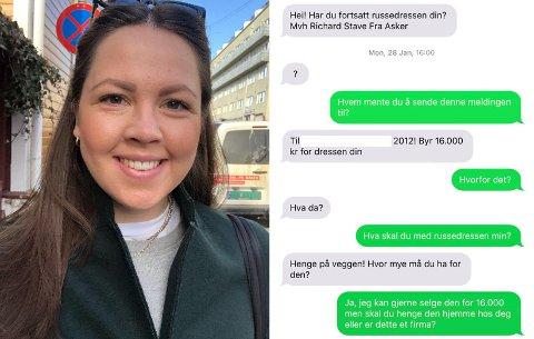SATT UT: Karoline Solberg ble tilbudt 10.000 kroner for russedressen. Meldingen til venstre er ikke hennes, men til en annen jente som også var russ i 2012.