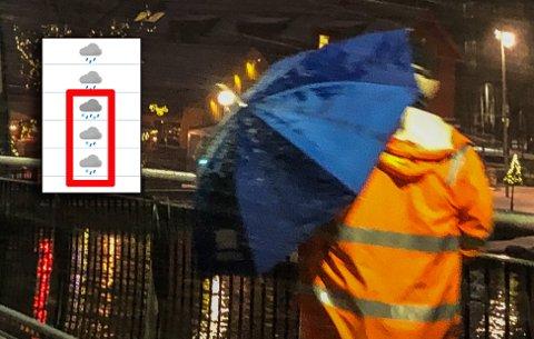 SÅVIDT HVITT: Det blir for det meste regn, men det kan komme noen fnugg også. Illustrasjonen som er innfelt i bildet er hentet fra yr.nos værvarsel for Revetal for tirsdag kveld.