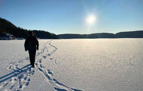 IDYLL FØRST: Så vakkert var det på Iddefjorden onsdag ettermiddag. Steinar Heidenberg går ubekymret på tur, men kort tid etter faller han gjennom isen og kjemper for livet sitt.