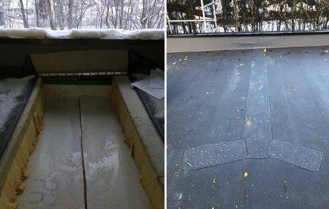UFORRETTETTAK:Deler av taket som i fjor ble saget opp for å ettermontere en bærebjelke, men der arbeidet ble avbrutt. Nå skal snekkerfirmaet prøve en gang til.