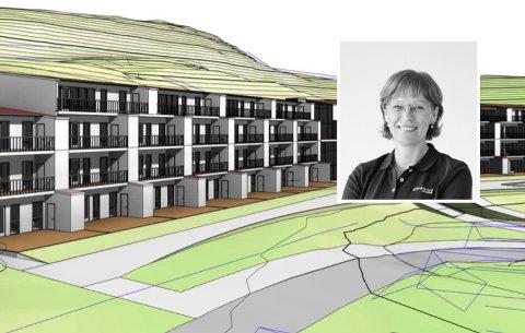 FIREETASJER:Tegning av det planlagte terrassehuset med utviklingsdirektør Ellen Grønlund i Tronrud Eiendom AS innfelt.