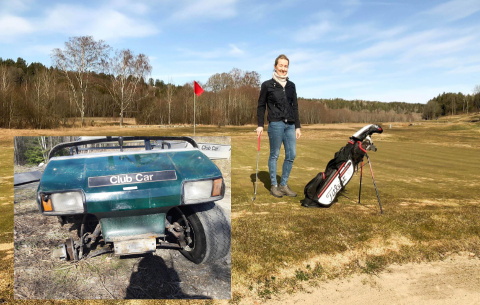 OPPGITT: Julie Wahlqvist ved Soon Golf fant arbeidsbilen (innfelt) igjen i ramponert forfatning. Nå vurderer klubben å investere i lyskastere ved uteskuret.
