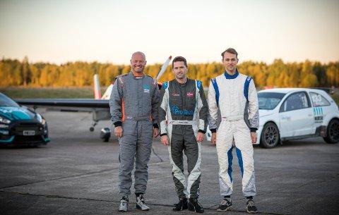 KOLLEGER PÅ TOPPEN: Oddbjørn Røed (styreformann og eier), Ulrik Hasle (daglig leder) og Martin Kjær (måletekniker) er alle i norgestoppen i sin motoridrett.
