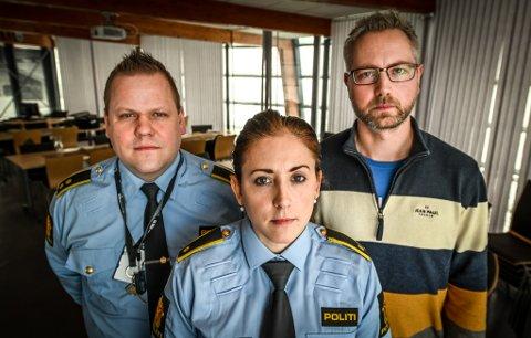 Politiet Rana GDE. Cecilie Johnsen, Tom Håvar Bogen og SLT-koordinator Rune Bang