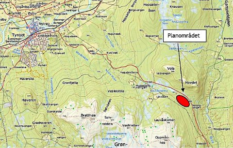 HYTTEOMRÅDE: Ørdet hyttefelt ligger på Brydalskjølen i Tynset.