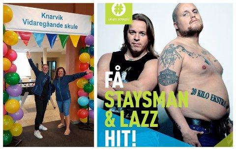 Ingrid Bachmann og Nina Holmedal utgjer miljøteamet på Knarvik VGS. Dei har ansvaret for #ErDuSikker konkurransen.