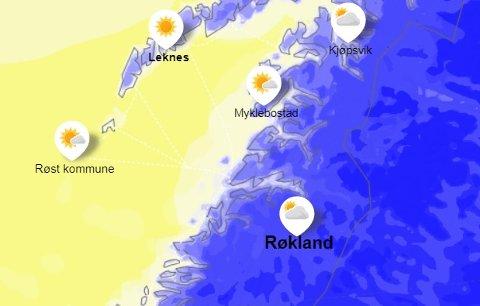 Det blir en kald uke i Salten, spesielt på indre strøk. Foto: Skjermdump/yr.no