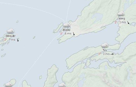 Været klokken 11:30 rundt Bodø, tirsdag 1. desember.