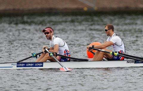 Kristoffer Brun (t.h.) og Are Strandli tok seg lørdag til EM-finalen i Skottland.
