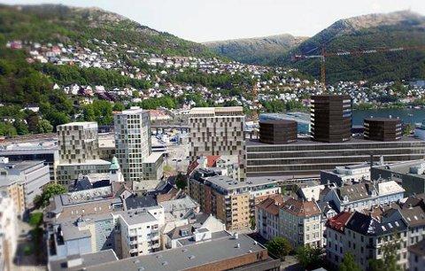 Dette er en skisse av det nye fylkeshuset (til venstre). Til høyre ser man Medielandsbyen.