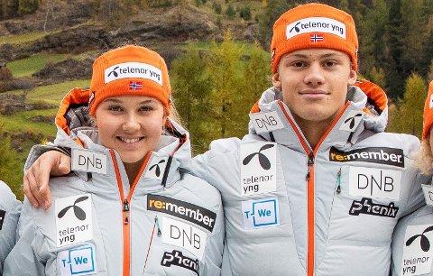 PÅ LANDSLAGET I ALPINT: Marte Monsen og Lucas Braathen.