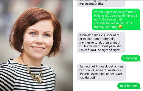 Sanna Sarromaa får gjennomgå på SMS av drammenseren.