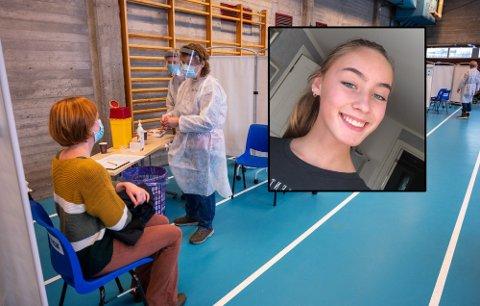 Tuva Hunshamar Engelkor (16) har allerede fått vaksine nummer én.