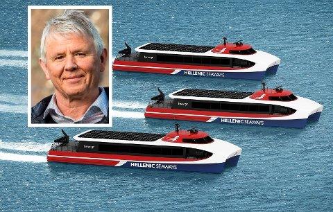 FRAMTIDA: Desse båtane med det nye Aero-designen utvikla av Brødrene Aa, set dagleg leiar Tor Øyvind Aa sin lit til. Desse tre skal leverast til Hellas innan sommaren 2022.
