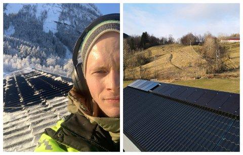 NØGD: Joakim Hermansen på taket då han installerte solcellene. - Det tok meg to dagar å få det klart. Eg har rekna på det og er rimelig sikker på at det skal lønne seg, seier Hermansen.