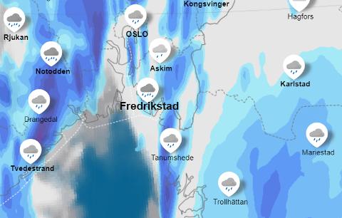 Du må regne med regn denne uken. Dette bildet viser varselet for mandag kveld.